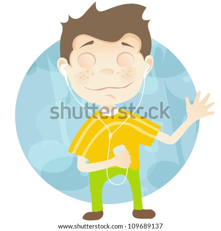 Cartoon Character Cute Teenager Isolated on White Background. Listening to Music. Vector EPS 10.