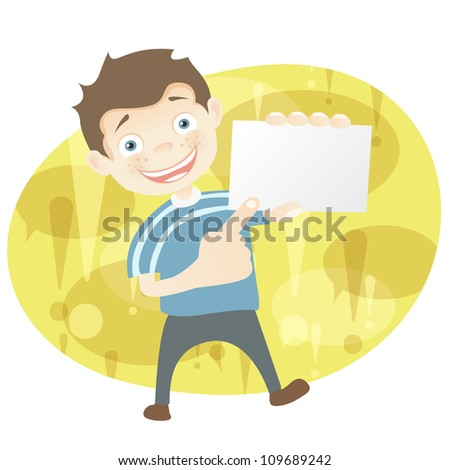 Cartoon Character Cute Teenager Isolated on White Background. Look Out. Vector EPS 10.