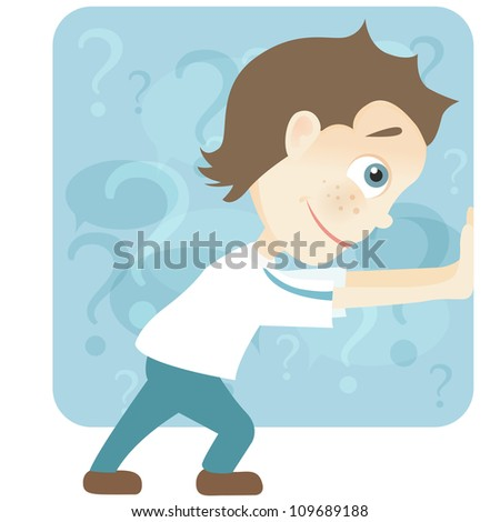 Cartoon Character Cute Teenager Isolated on White Background. Pushing. Vector EPS 10.