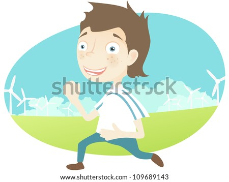 Cartoon Character Cute Teenager Isolated on White Background. Running. Vector EPS 10.