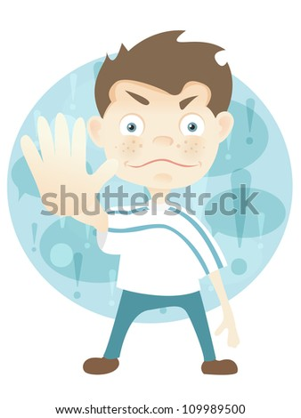 Cartoon Character Cute Teenager Isolated on White Background. Stop. Vector EPS 10.