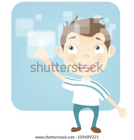 Cartoon Character Cute Teenager Isolated on White Background. Touch Screen. Vector EPS 10.