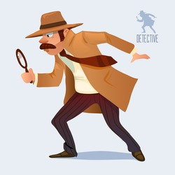 cartoon character, detective looking through magnifying glass, vector color illustration