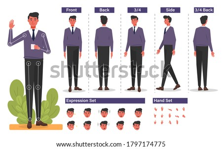 Cartoon character for motion design Free Vector, Base Character Male, Front, side, back view animated character. man character creation set with various views, hairstyles, face emotions, poses