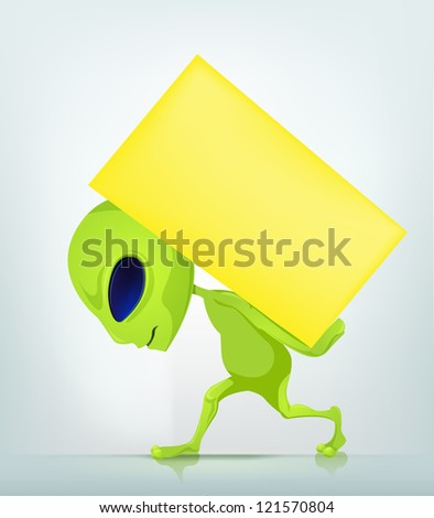 Cartoon Character Funny Alien Isolated on Grey Gradient Background. Delivery. Vector EPS 10.