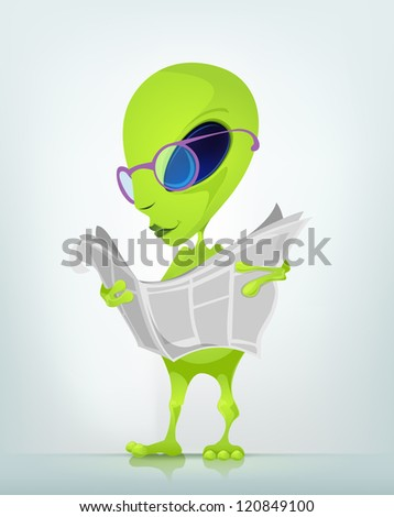 Cartoon Character Funny Alien Isolated on Grey Gradient Background. News. Vector EPS 10.