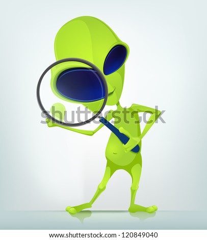 Cartoon Character Funny Alien Isolated on Grey Gradient Background. Search. Vector EPS 10.