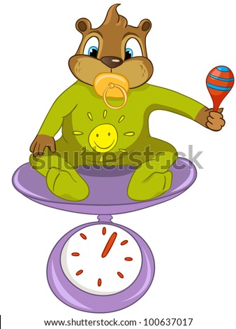 Cartoon Character Funny Beaver Isolated on White Background. Vector.