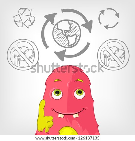 Cartoon Character Funny Monster. Vector Illustration. EPS 10.