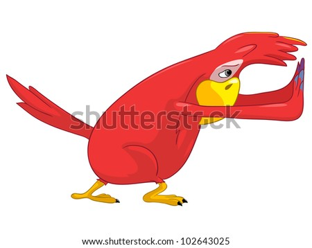 Cartoon Character Funny Parrot Isolated on White Background. Pushing. Vector EPS 10.