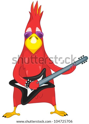 Cartoon Character Funny Parrot Isolated on White Background. Rock Star. Vector EPS 10.
