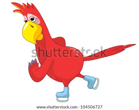 Cartoon Character Funny Parrot Isolated on White Background. skater. Vector EPS 10.