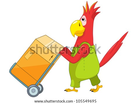 Cartoon Character Funny Parrot Isolated on White Background. Worker. Vector EPS 10.