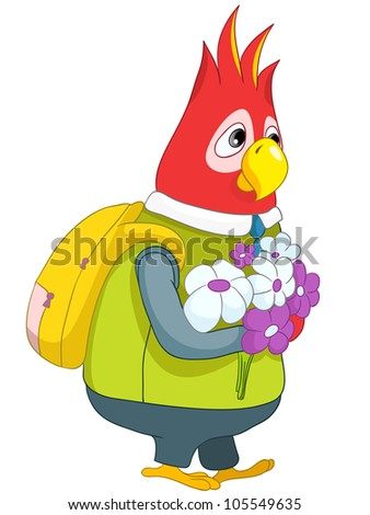 Cartoon Character Funny Parrot Schoolboy Isolated on White Background. Vector EPS 10.