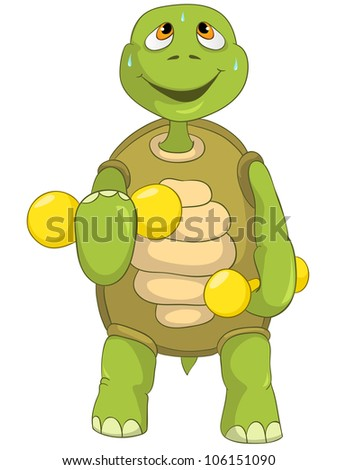 Cartoon Character Funny Turtle Isolated on White Background. Gym. Vector EPS 10.