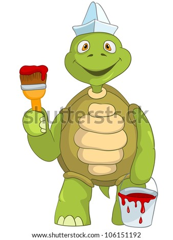 Cartoon Character Funny Turtle Isolated on White Background. Painter. Vector EPS 10.