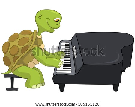 Cartoon Character Funny Turtle Isolated on White Background. Pianist. Vector EPS 10.