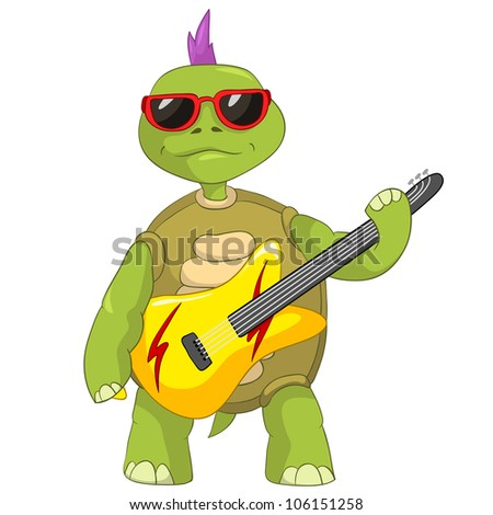 Cartoon Character Funny Turtle Isolated on White Background. Rock Star. Vector EPS 10. - stock vector