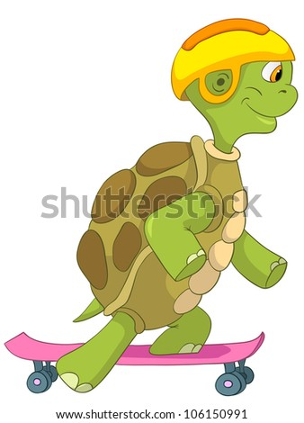 Cartoon Character Funny Turtle Isolated on White Background. Skateboarding. Vector EPS 10.