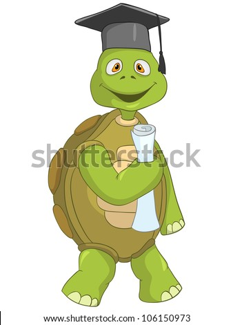 Cartoon Character Funny Turtle Isolated on White Background. Student. Vector EPS 10.