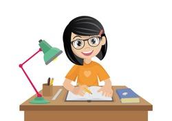 Cartoon character, Girl makes a homework., vector eps10