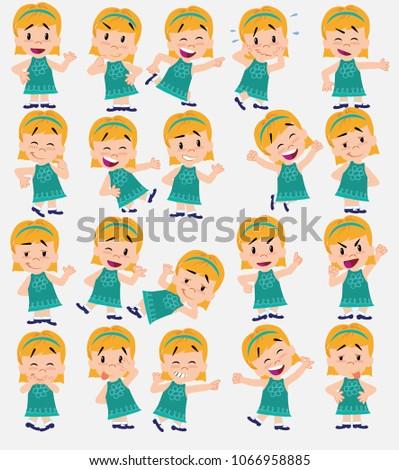 cartoon character girl set