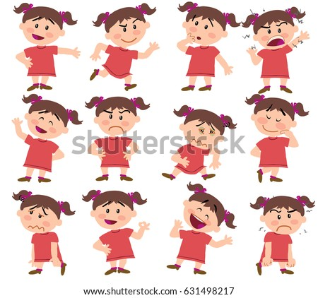 cartoon character girl set with