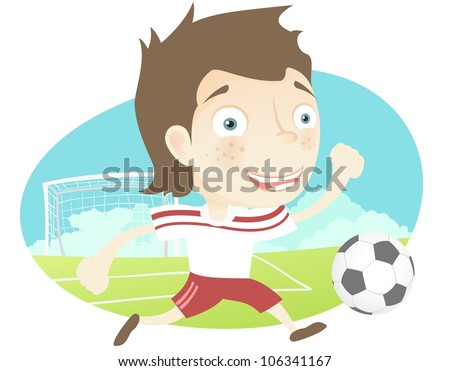 Cartoon Character Guy Isolated on White Background. Soccer. Vector EPS 10.