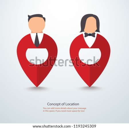 cartoon character icon of people on pin icon location symbol logo vector eps illustration