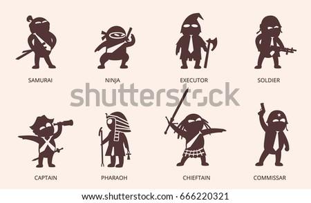 cartoon character icons set