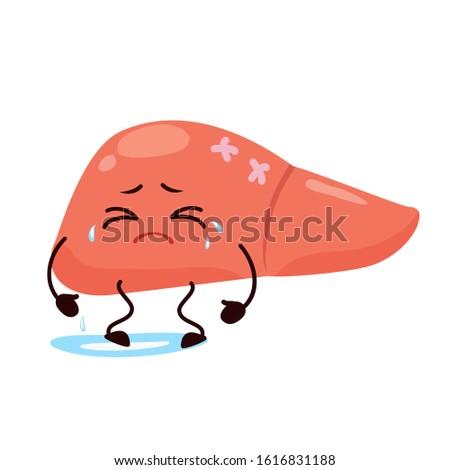 Cartoon character liver. Cute human internal organ is sick, crying, caricature, animation. Vector illustration