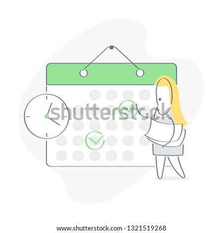 Cartoon Character Make an Online Schedule. Business Graphics Tasks, Planning and Scheduling Operations Agenda on a Week in the Calendar. Outline vector on white background.