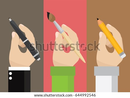 Cartoon character, Man holding a pencil, pen, paintbrush., Vector eps10