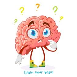 cartoon character mascot brain puzzled question