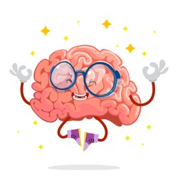cartoon character mascot of the brain with glasses meditating in yoga pose