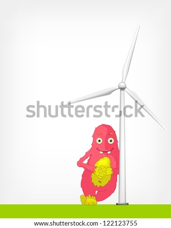 Cartoon Character Monster with Windmill. Vector EPS 10.