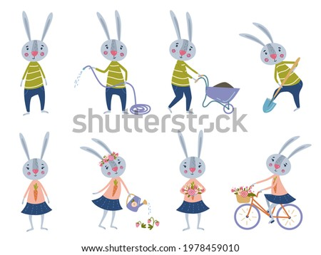 Cartoon character of a hare in different poses. The hare rides a bike, the hare is dripping, the hare is watering the strawberries.