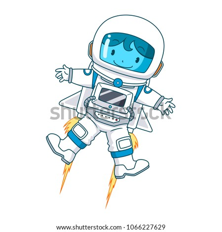 Cartoon character of astronaut floating, Vector illustration.