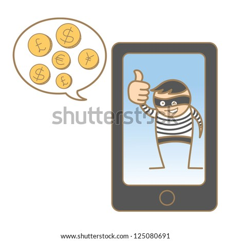 cartoon character of burglar hacking mobile