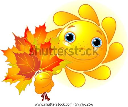 Cartoon Character of Cute  Sun giving autumn leaves - stock vector