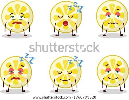 Cartoon character of lemon slice with sleepy expression Zdjęcia stock ©