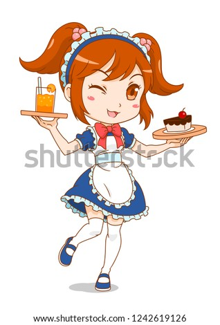 cartoon character of maid cafe