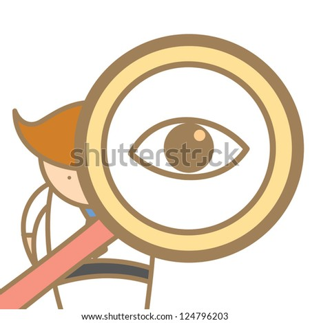 cartoon character of  man searching using magnifier - stock vector