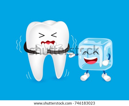 Cartoon character of tooth and ice. Sensitive Tooth To Cold.  Dental care concept, illustration isolated on blue background.