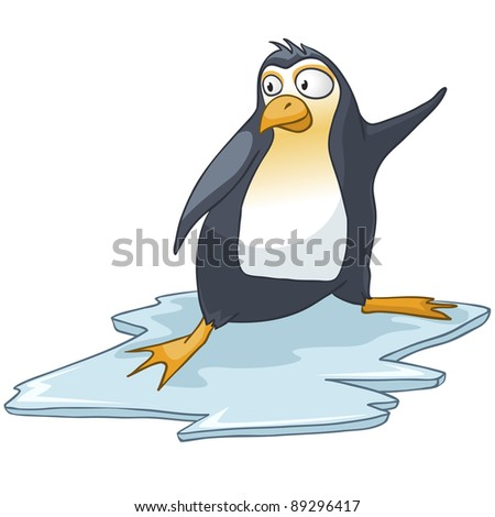 Cartoon Character Penguin Isolated on White Background. Vector.