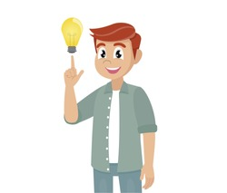 Cartoon character Poses, Young man shows gesture. Solution of the problem. Concept of a great idea.,vector eps10