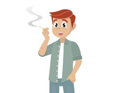 Cartoon character Poses, Young Man Smoking a Cigarette.,vector eps10