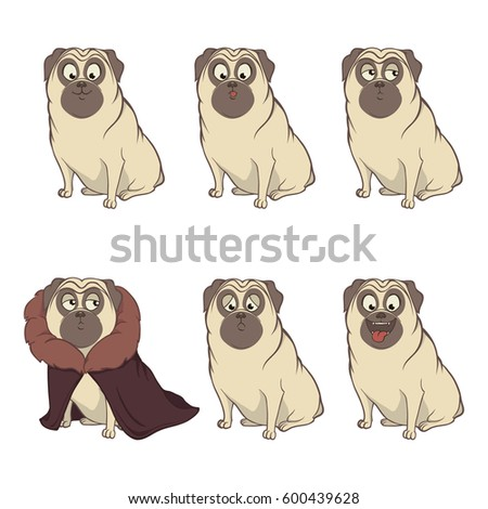 cartoon character pug dog poses