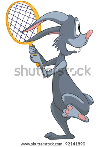 Cartoon Character Rabbit Isolated on White Background. Vector.