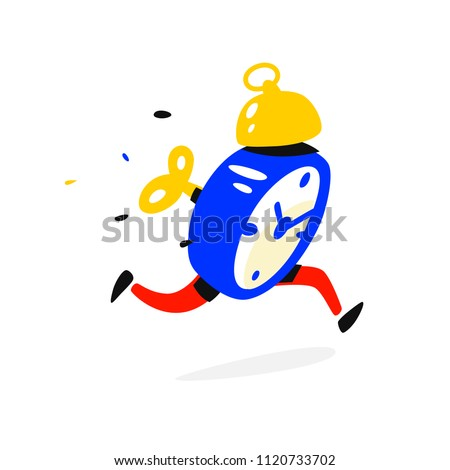 cartoon character running alarm